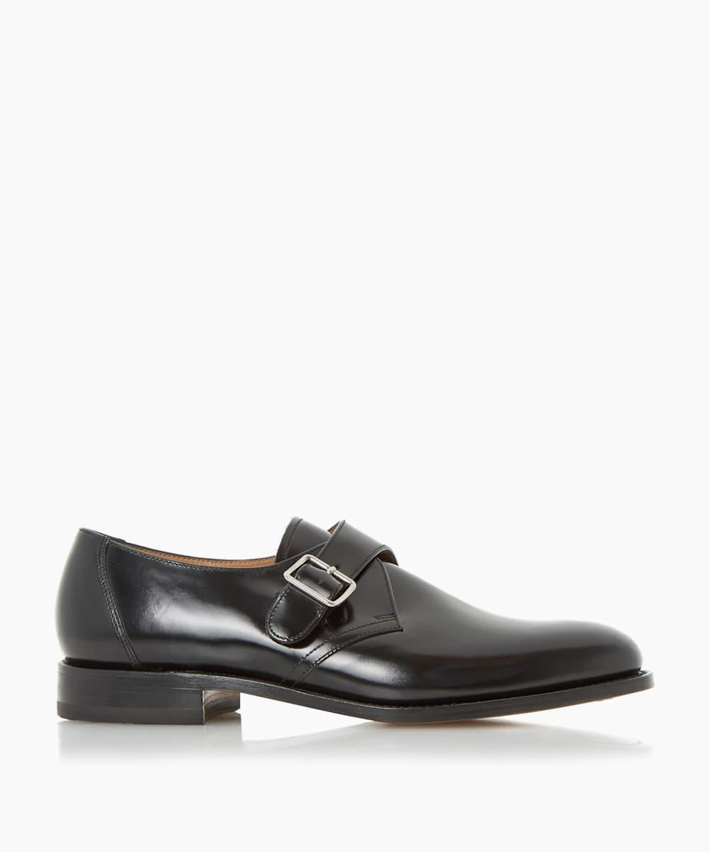 Single Buckle Leather Monk Shoes