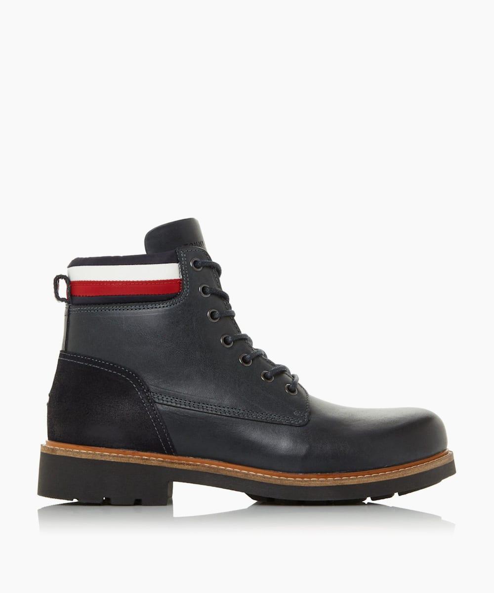 Tricolour Stripe Lace-Up Worker Boots