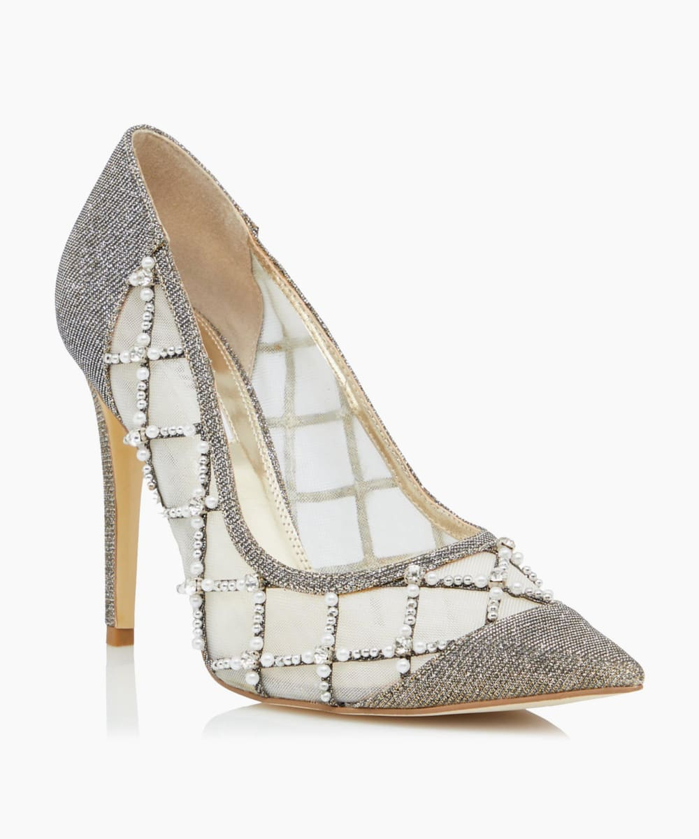 Embellished Crystal Quilt Detail Shoes