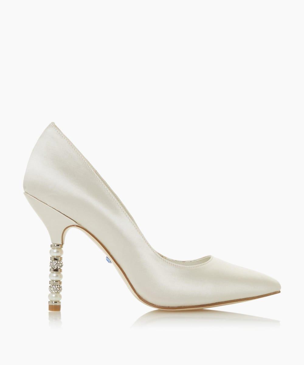 Pearl Crystal Heel Detail Wedding Shoes