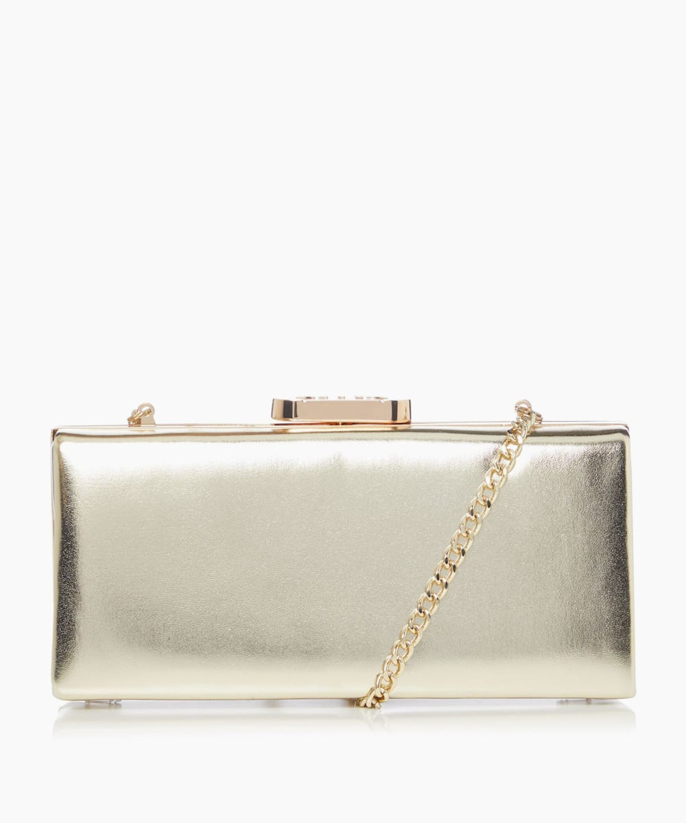 Gold Clasp Box Clutch