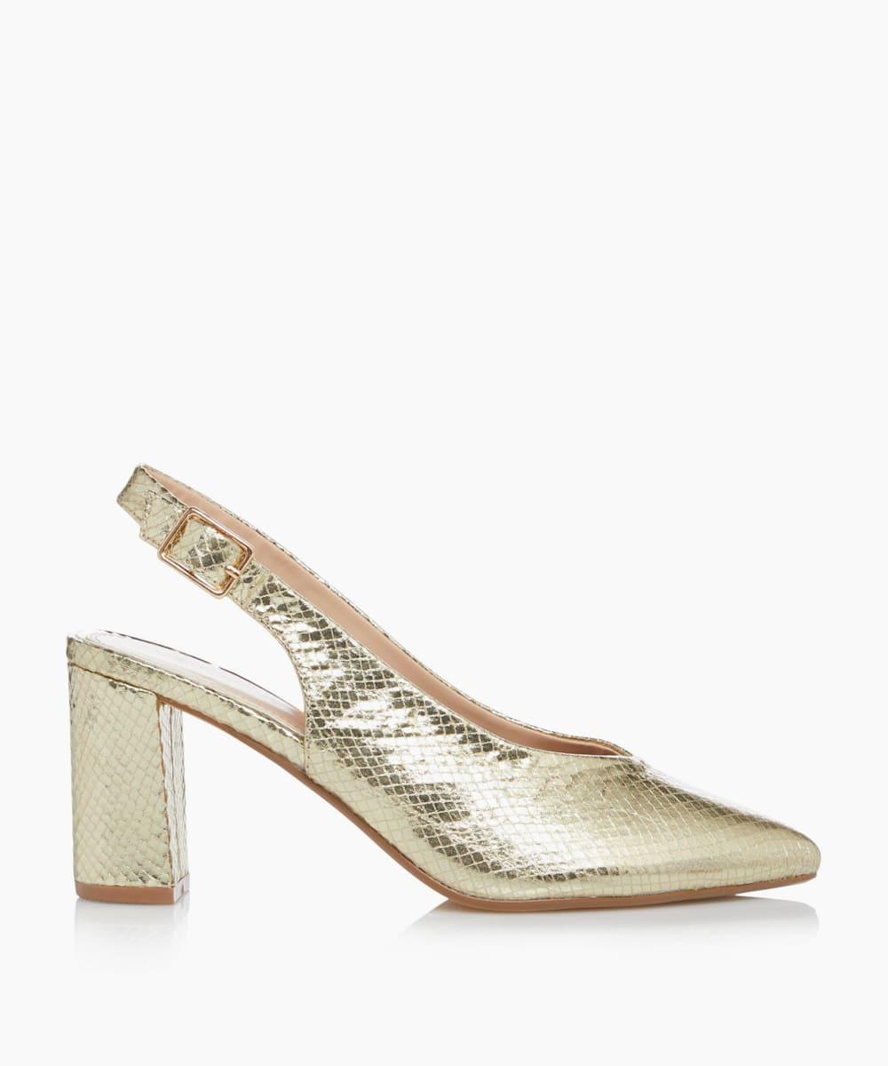 V Cut Heeled Court Shoes
