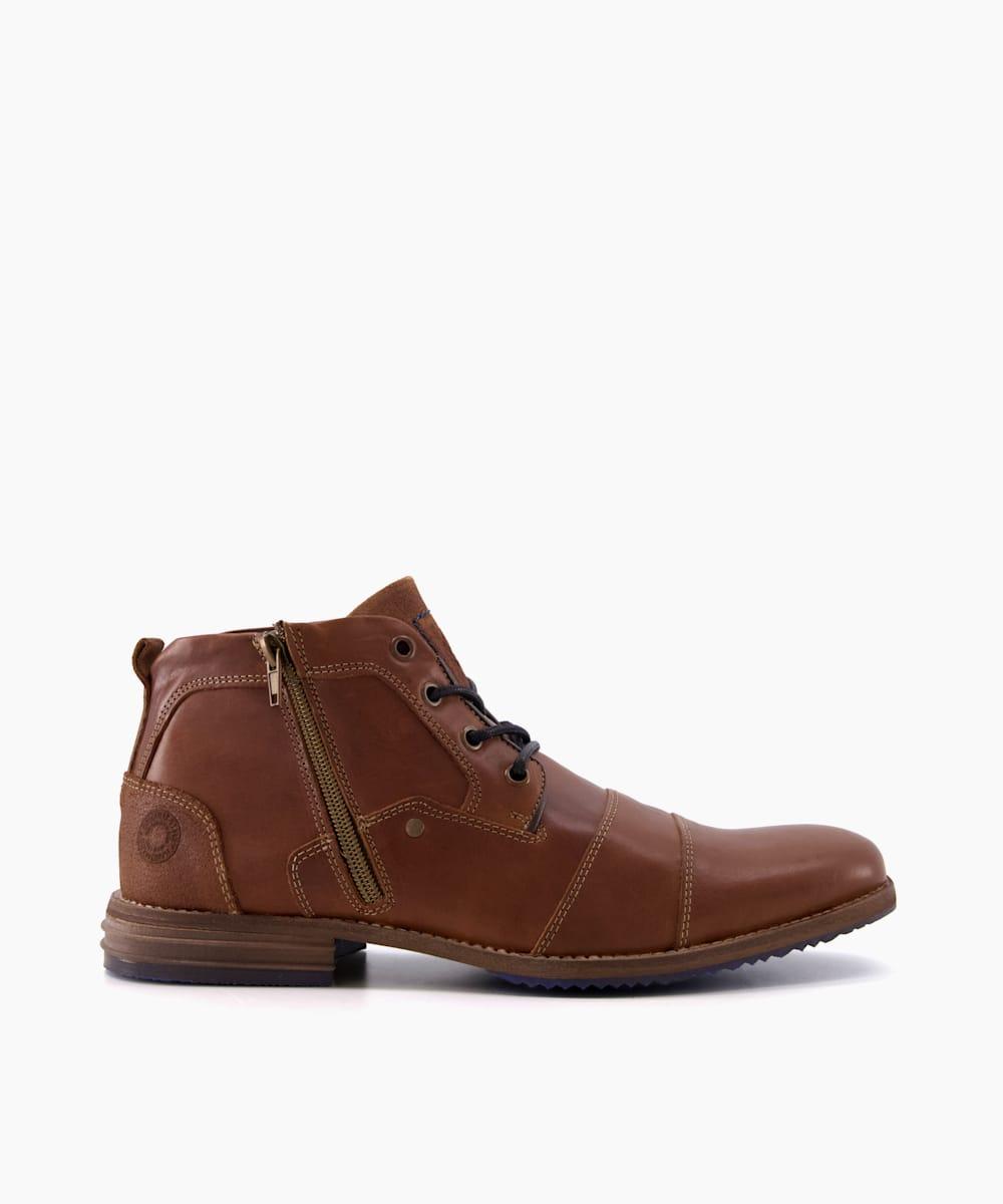 Double Toe Cap Detail Leather Boots