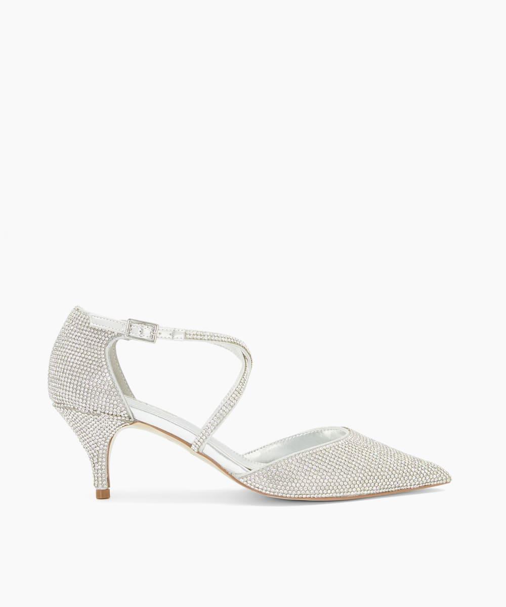 Silver Crystal Embellished Kitten Heel