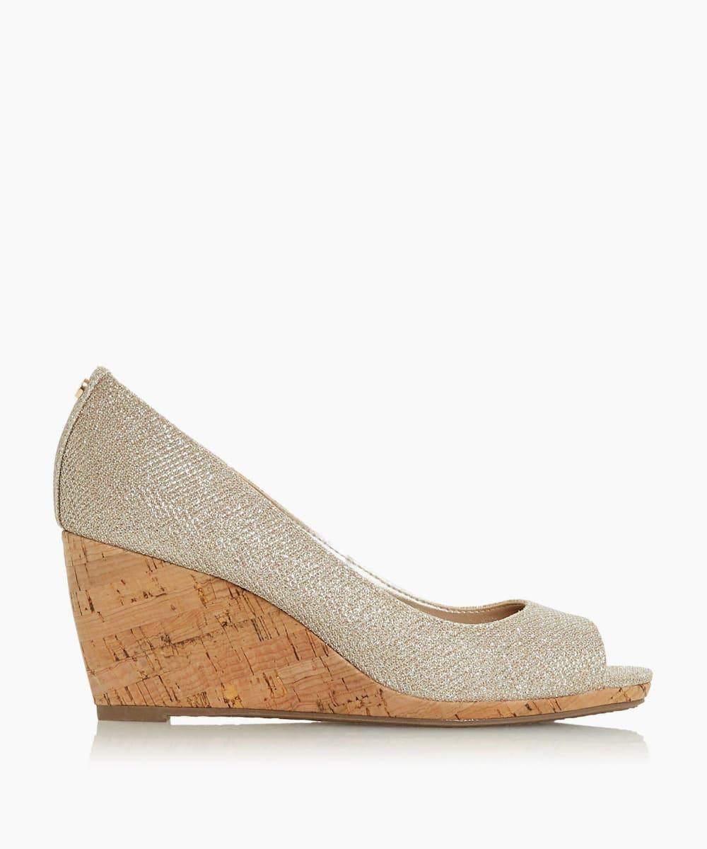 Peep Toe Cork Wedge Sandals