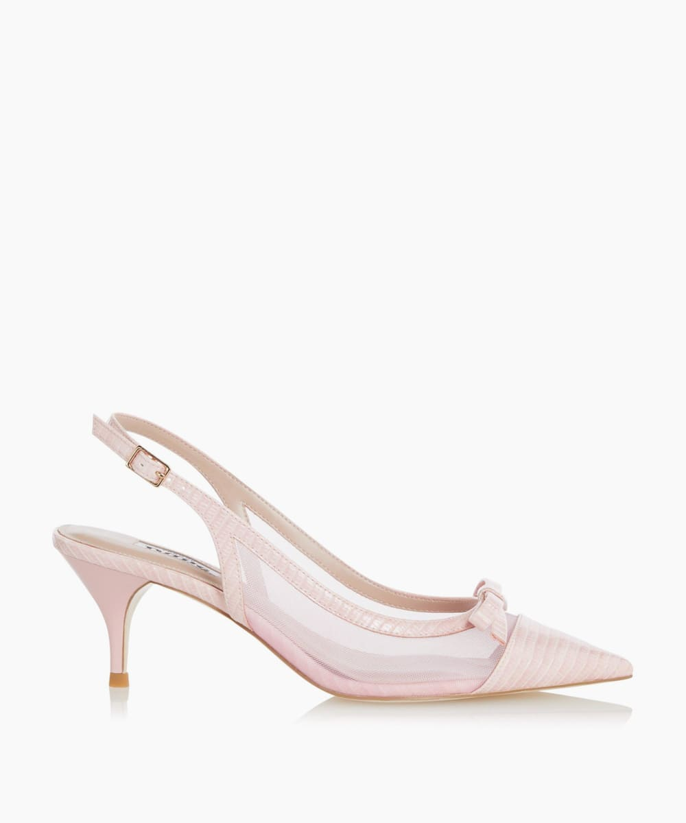 Mesh Detail Kitten Heel Court Shoes