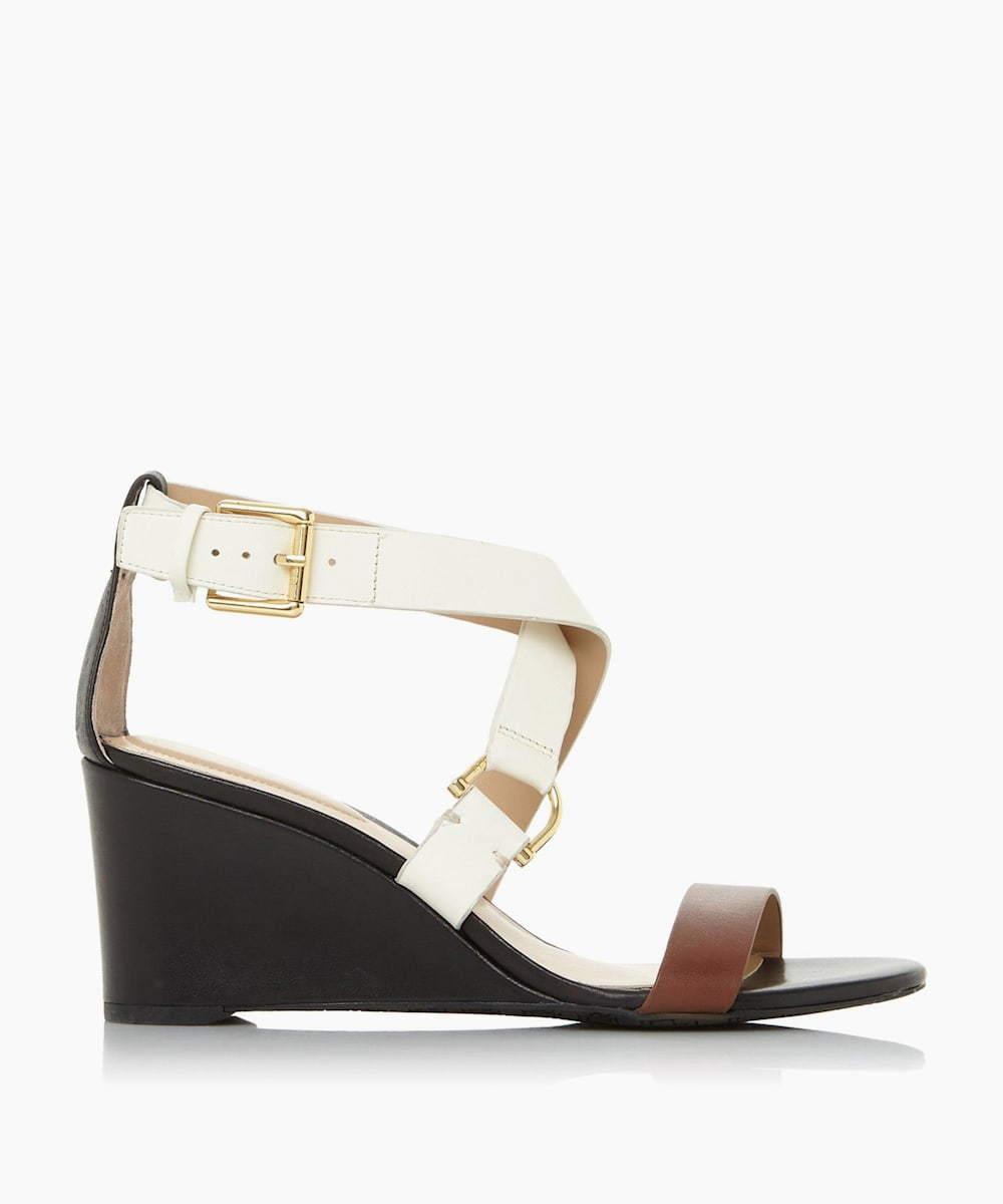 Cross Over Strap Wedge Heel Sandals