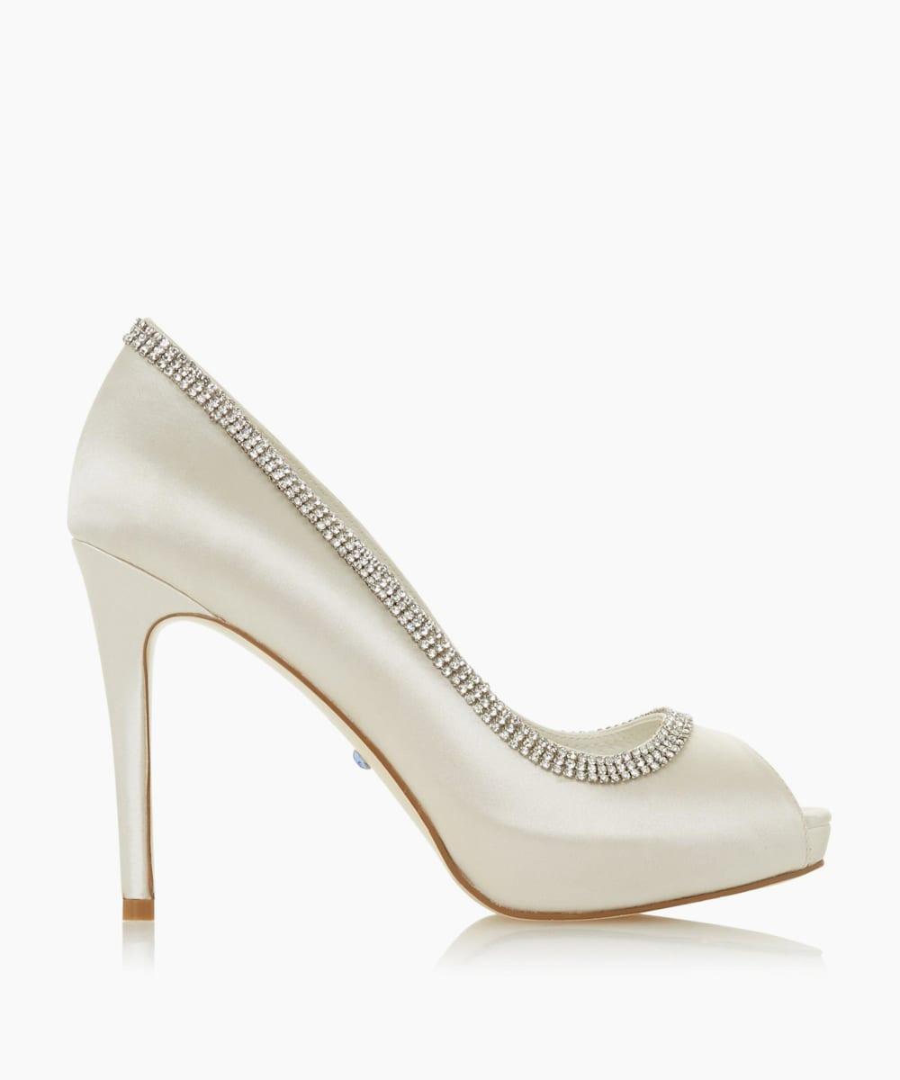 Diamante Peep Toe Platform Wedding Shoes