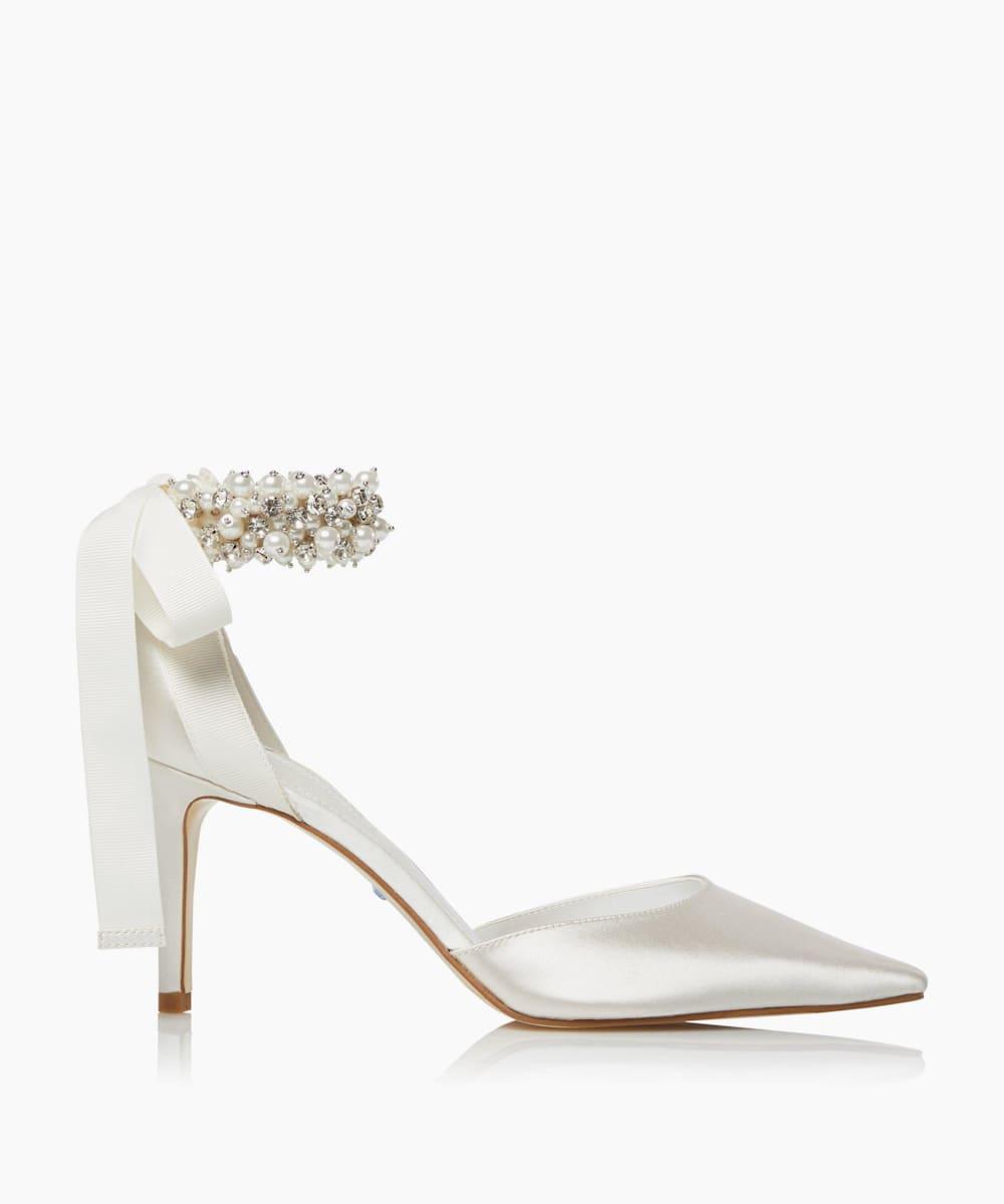 Embellished Ankle Strap Wedding Shoes