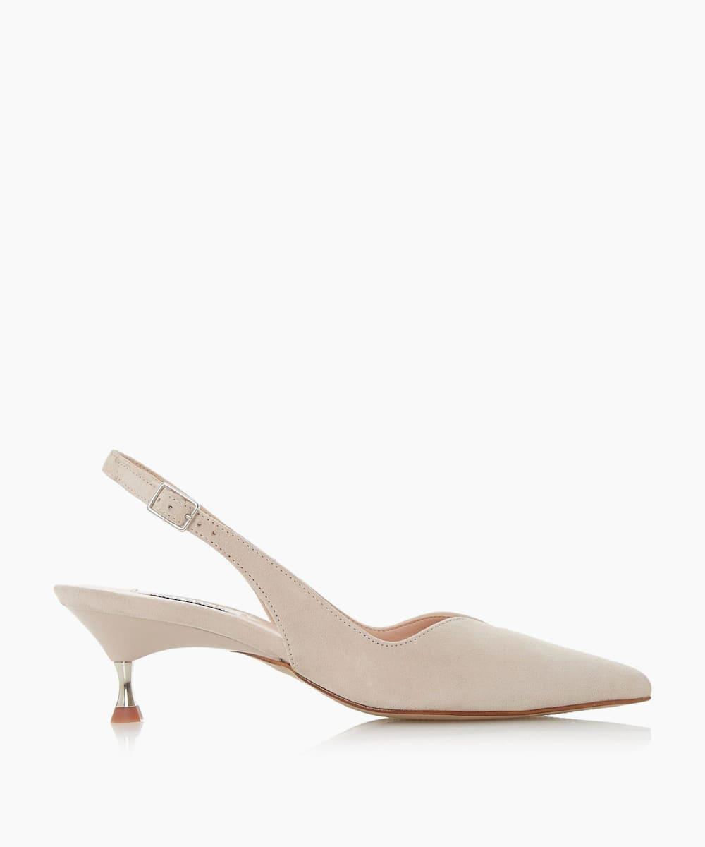 Sling Back Pointed Kitten Heel Shoes