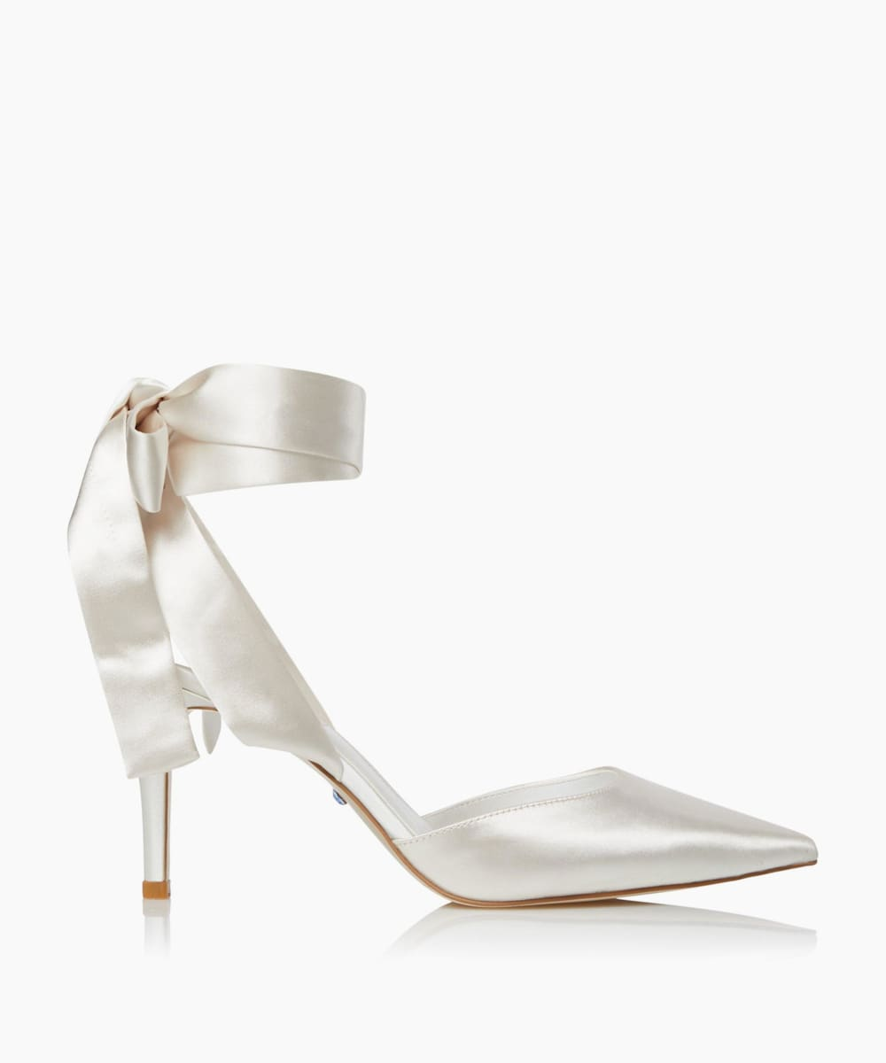 Satin Ankle Tie Wedding Shoes