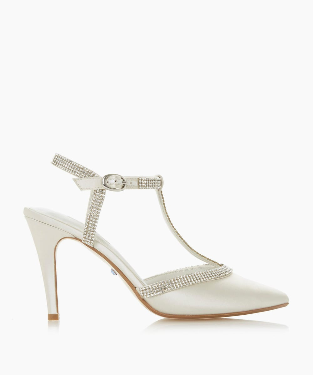 Diamante T-Bar Court Shoes