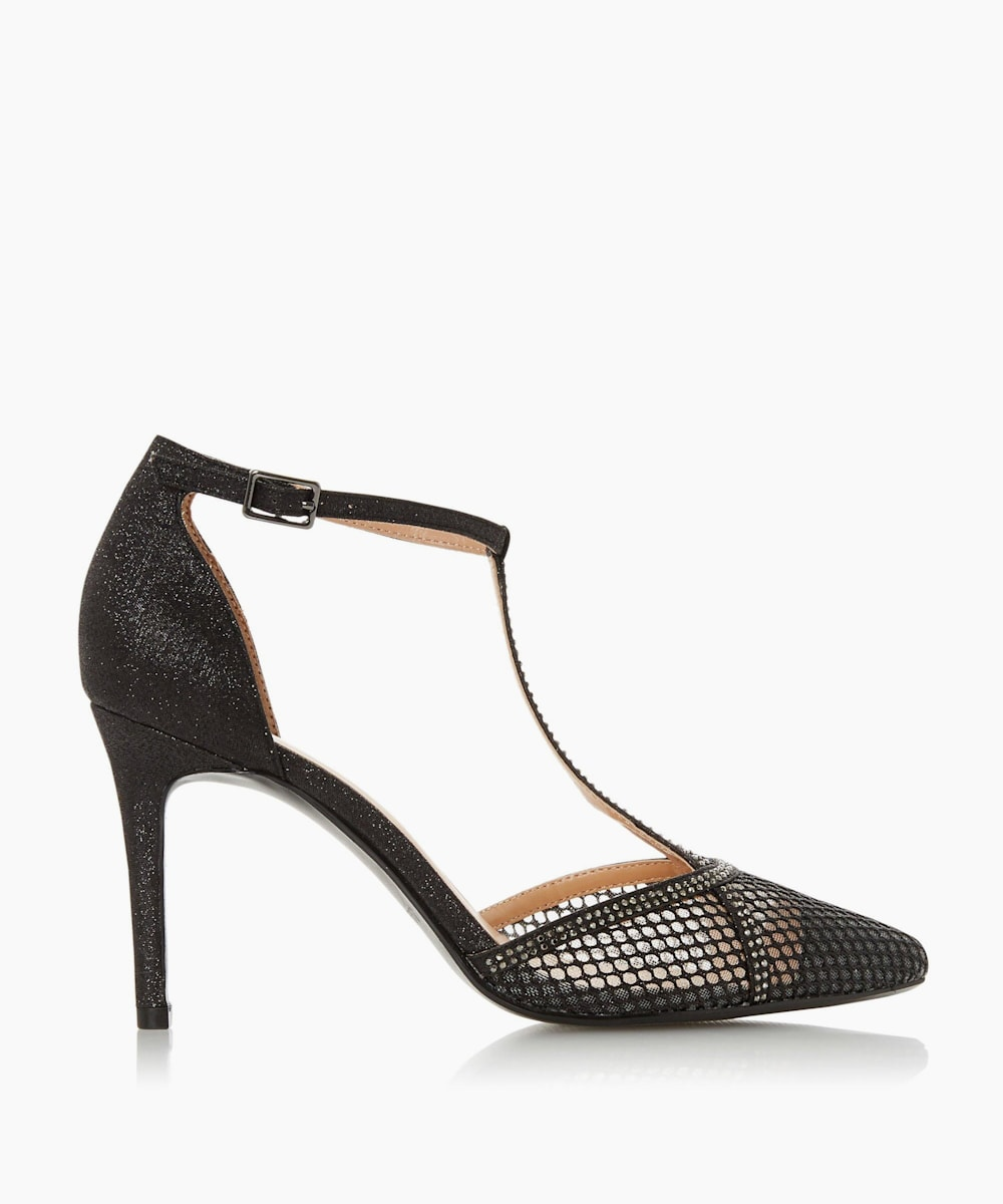 T-Bar Ponited Mesh Court Shoes