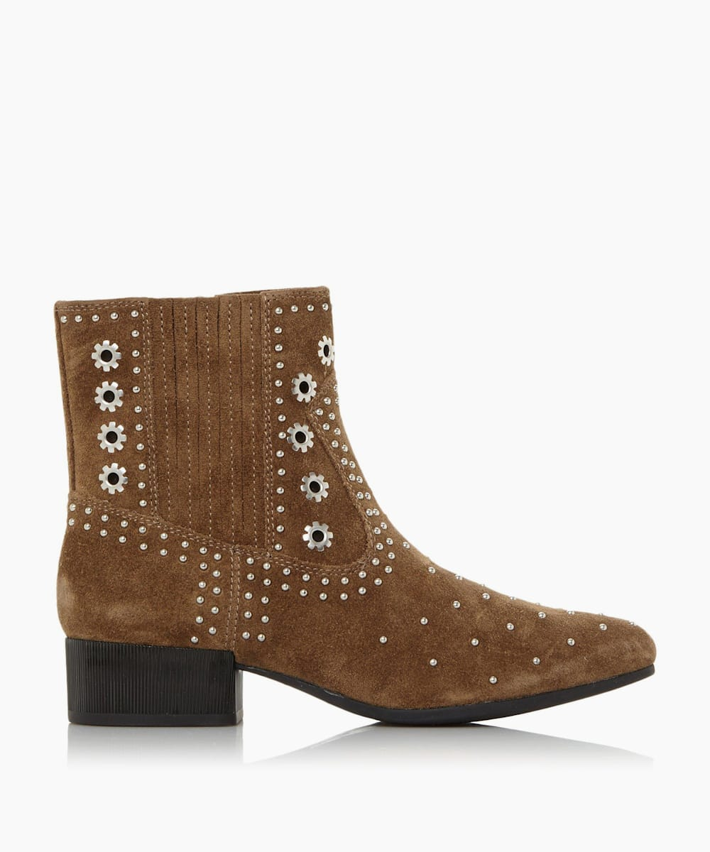 Studded Western Ankle Boots