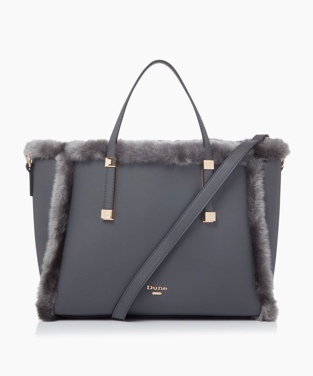 Faux-Fur Trimmed Tote