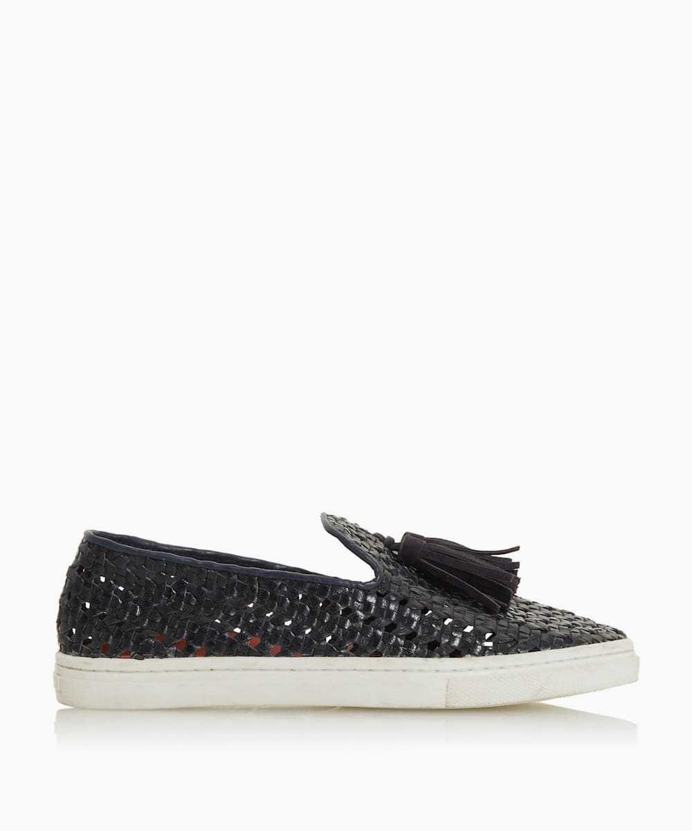 Woven Tassel Trim Slip On Trainers