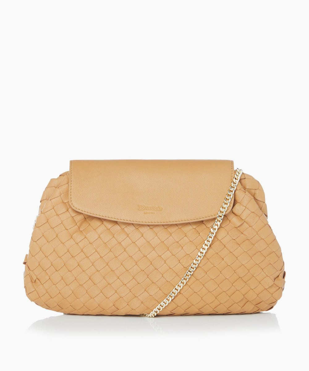 Voluminous Woven Leather Clutch Bag