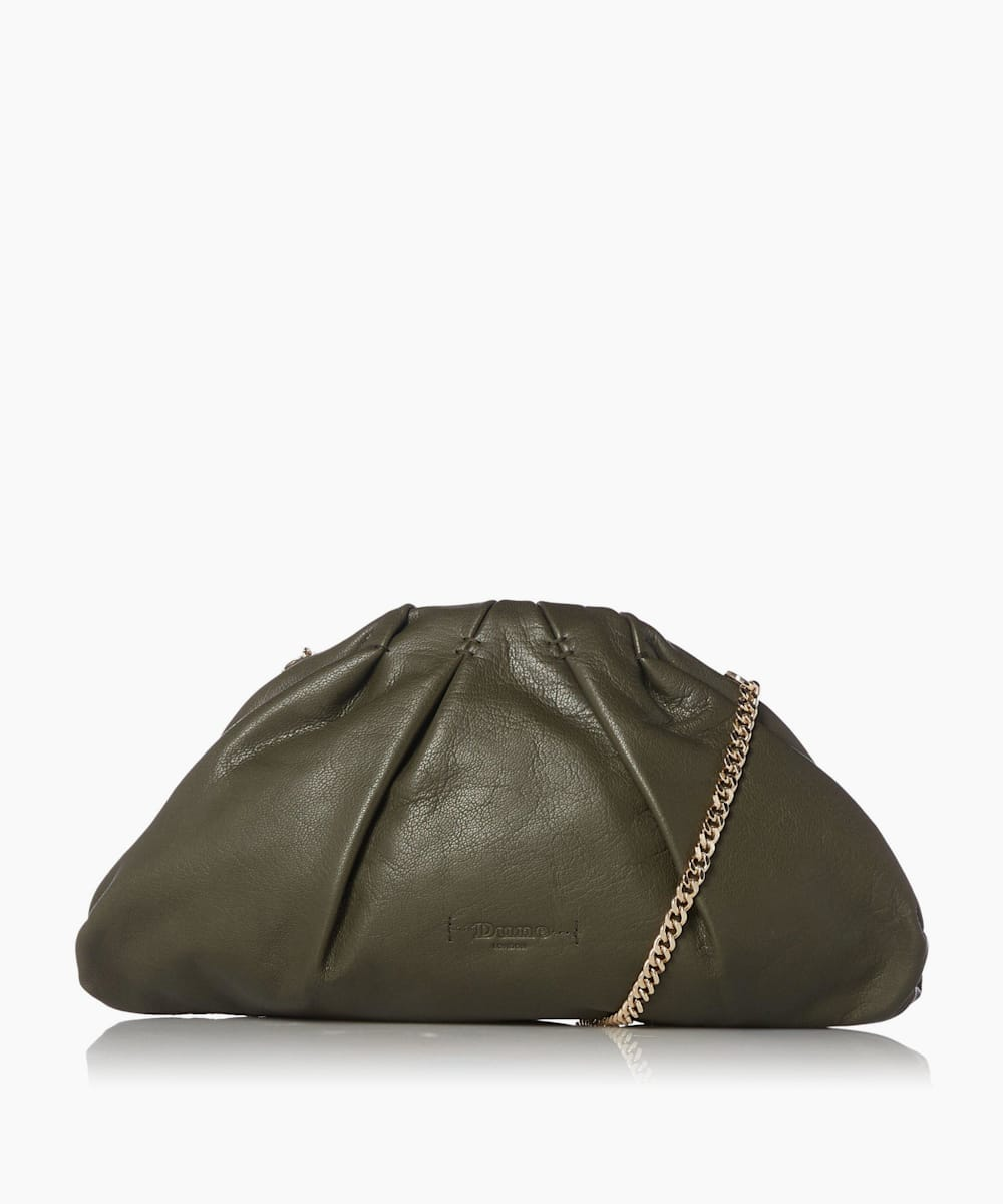 Leather Voluminous Clutch Bag
