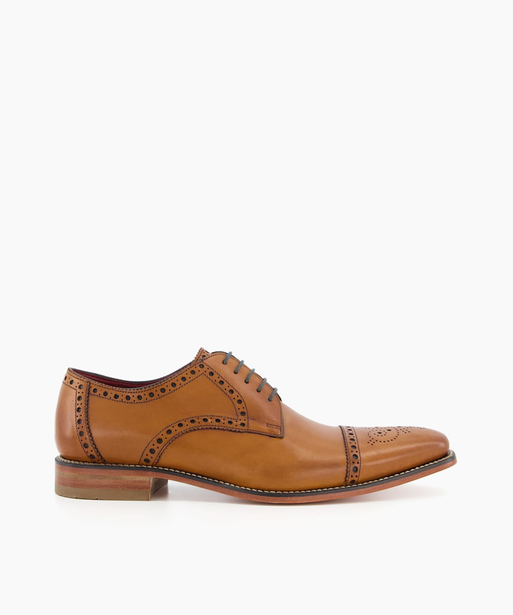 Brogue Toecap Leather Smart Gibson Shoes