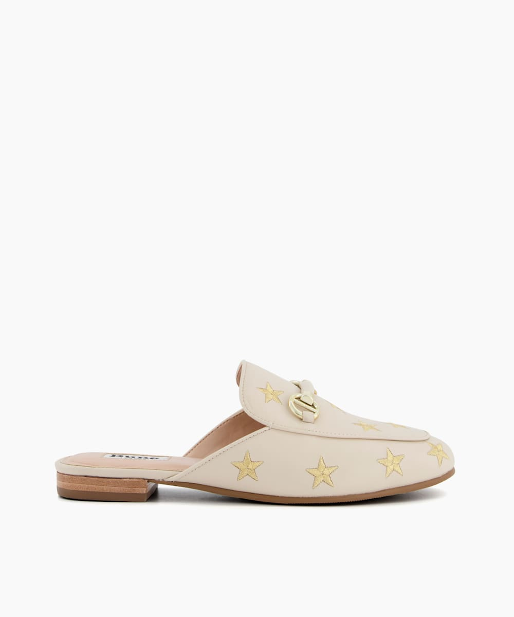 Star Embroidered Backless Loafers