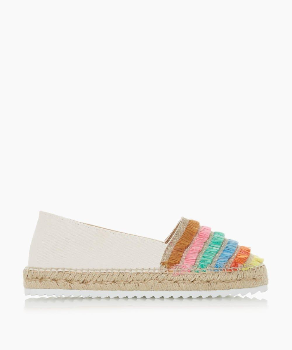Multicoloured Frayed Trim Espadrilles Shoes