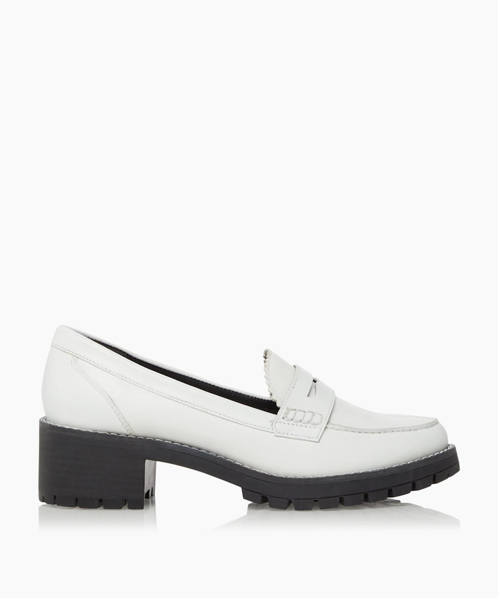 Block Heel Penny Saddle Loafers