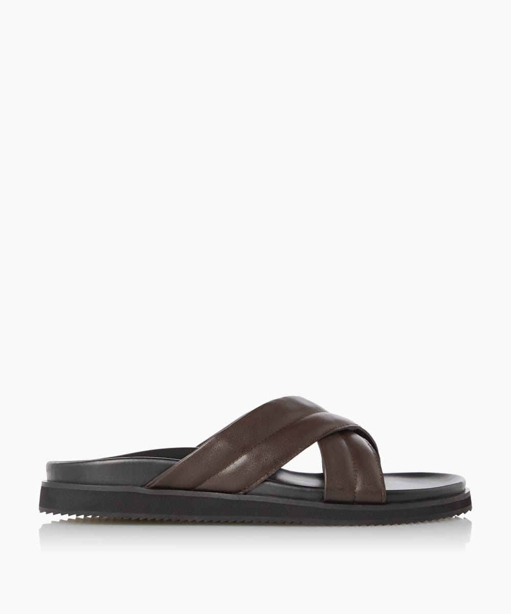 Padded Cross Strap Slider Sandals