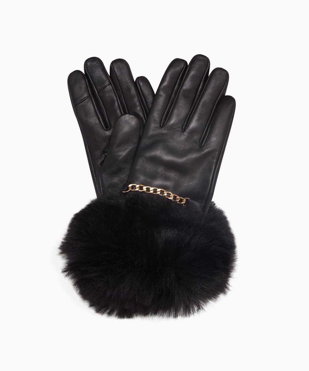 Faux-Fur Trim Gloves