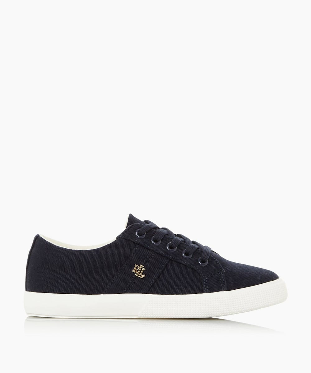 Embellished Trim Lace Up Canvas Trainers