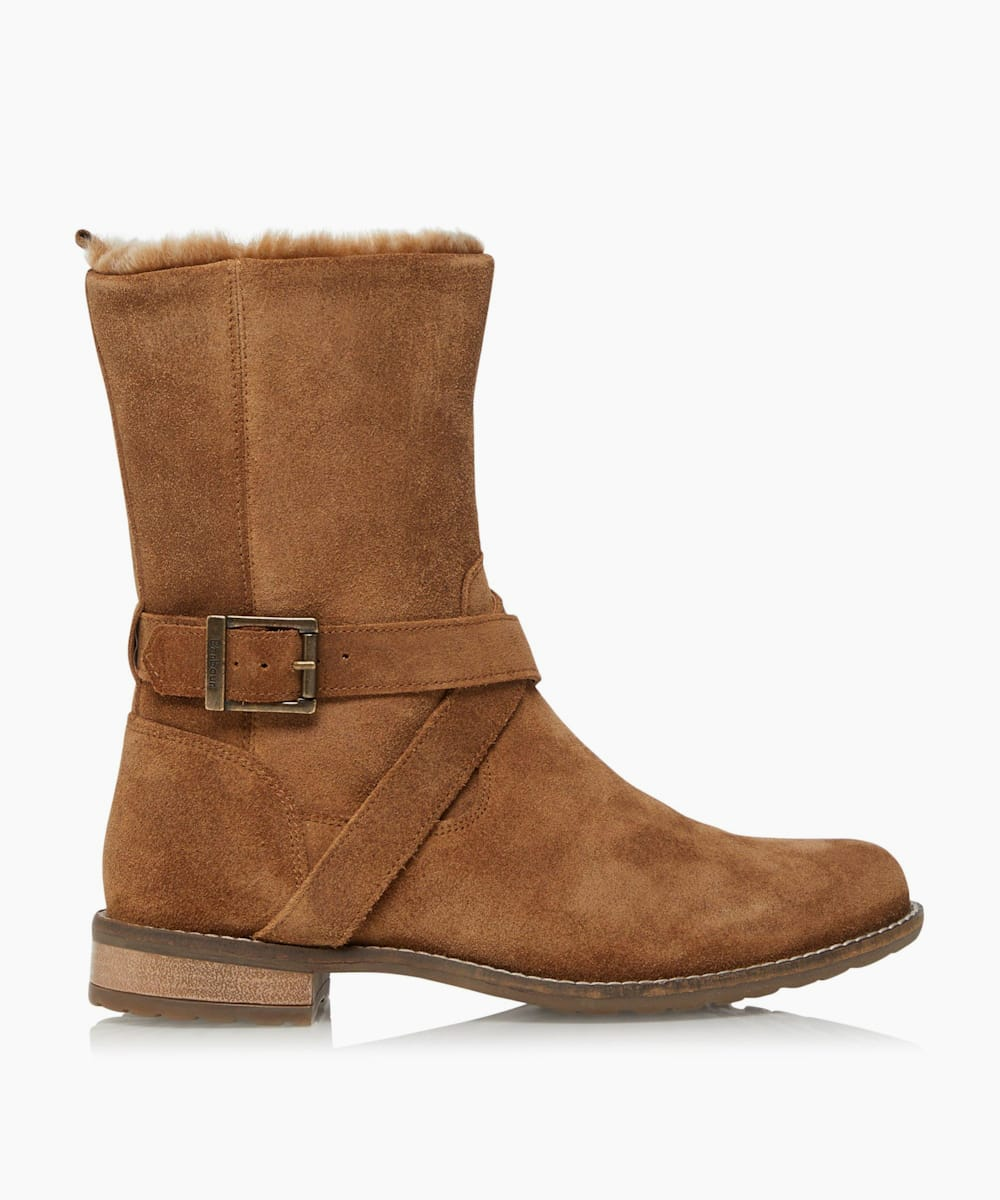 Faux-Fur-Lined Buckle Calf Boots