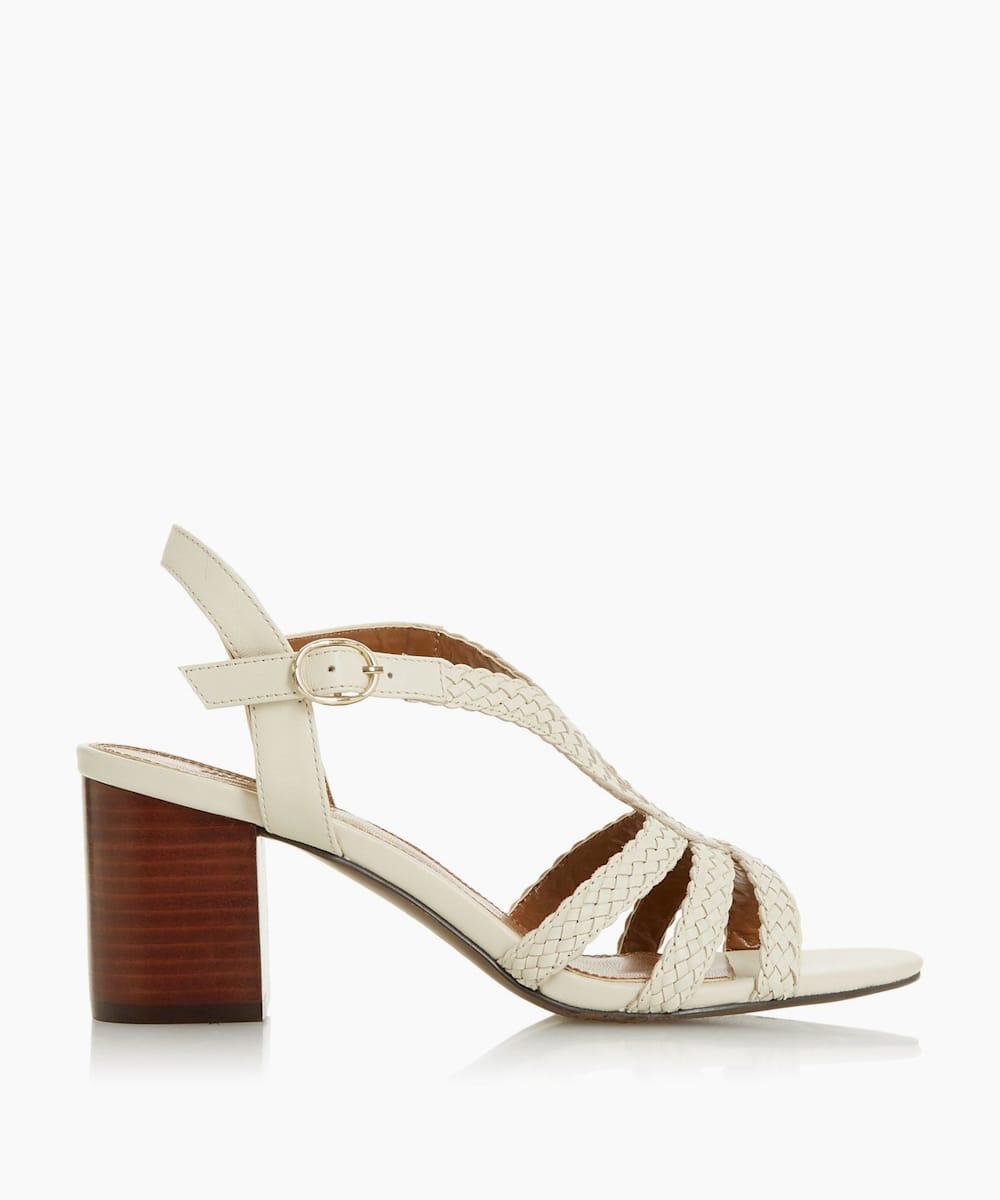 Mid Block Heel Plaited Sandals