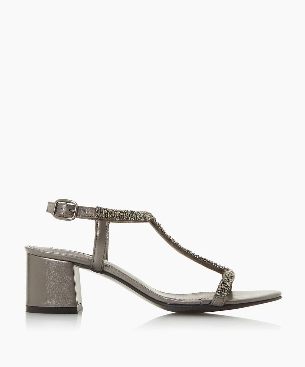 Embellished Block Heel Sandals