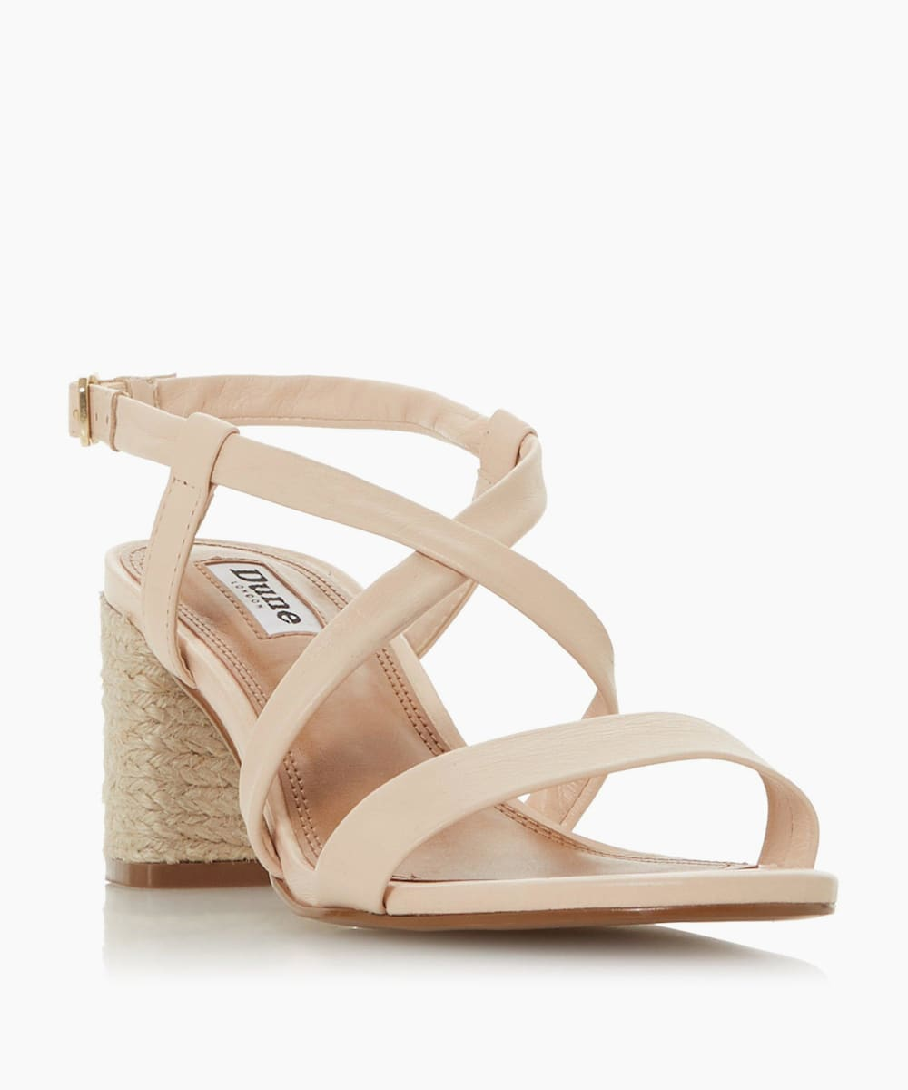 Cross Over Strap Espadrille Heel Sandals