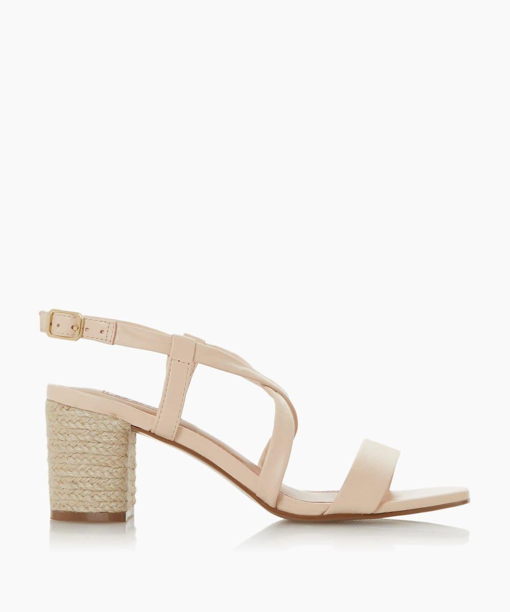 Cross Over Strap Espadrille Heel Sandals