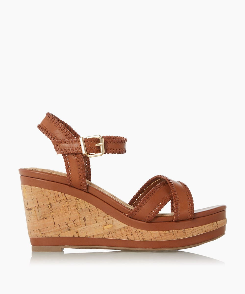 Whipstitch Detail Wedge Sandals