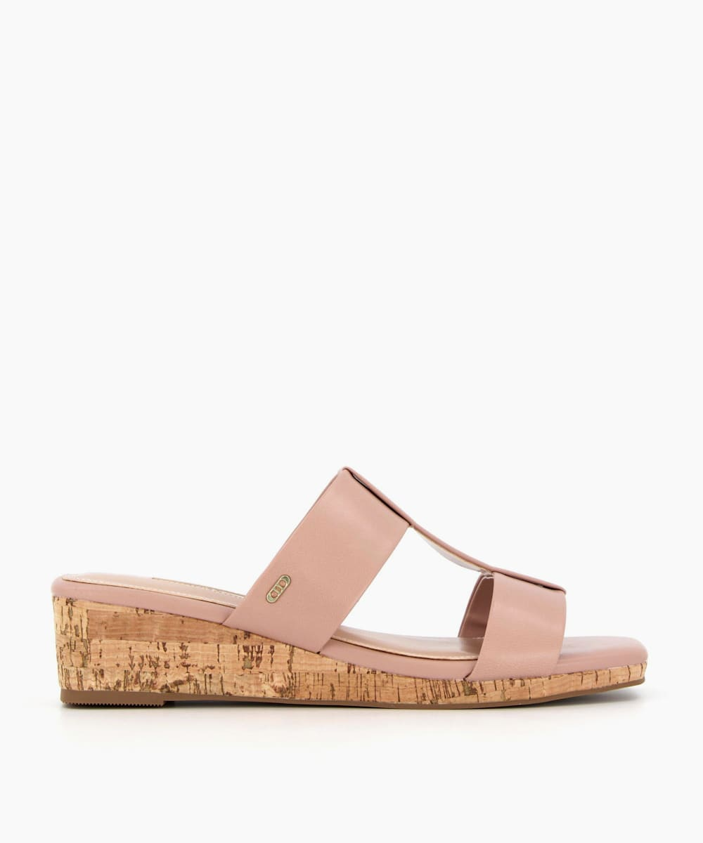 Low Wedge T-Bar Sandals