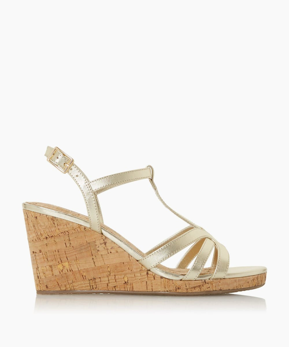 T-Bar Cork Wedge Sandals