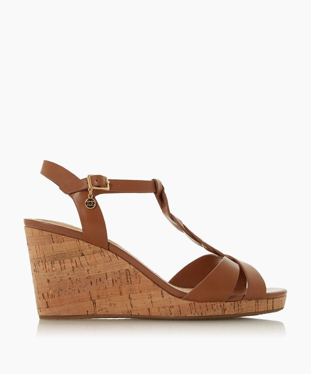 Plait T-Bar Strap Cork Wedge Heel