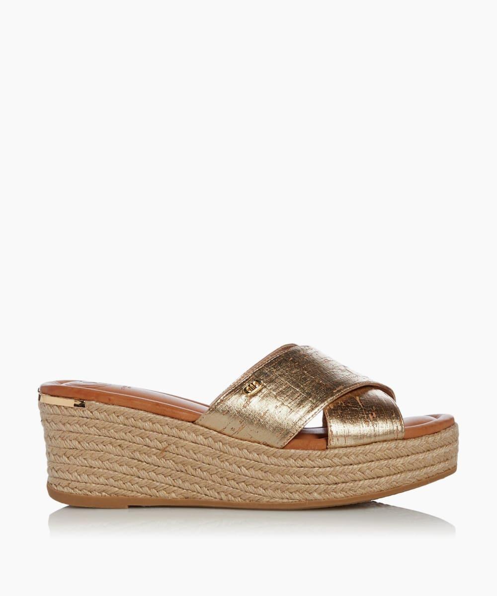 Cross Strap Wedge Mule Sandals