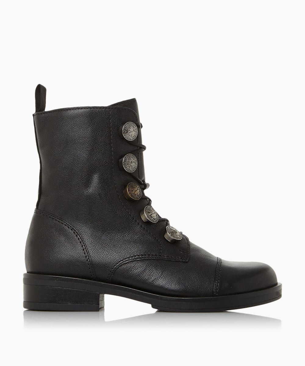 Engraved Coin Biker Boots