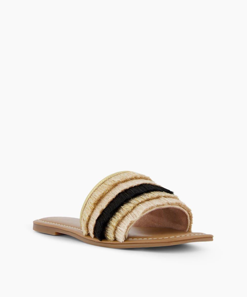 Fringed Slider Sandals