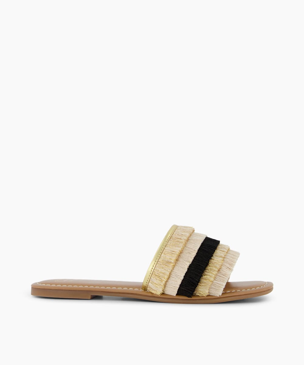 Fringed Slider Sandals