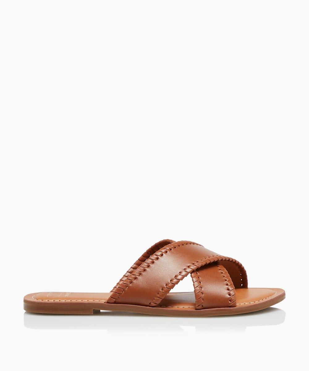 Cross Strap Whip Stitch Sandals