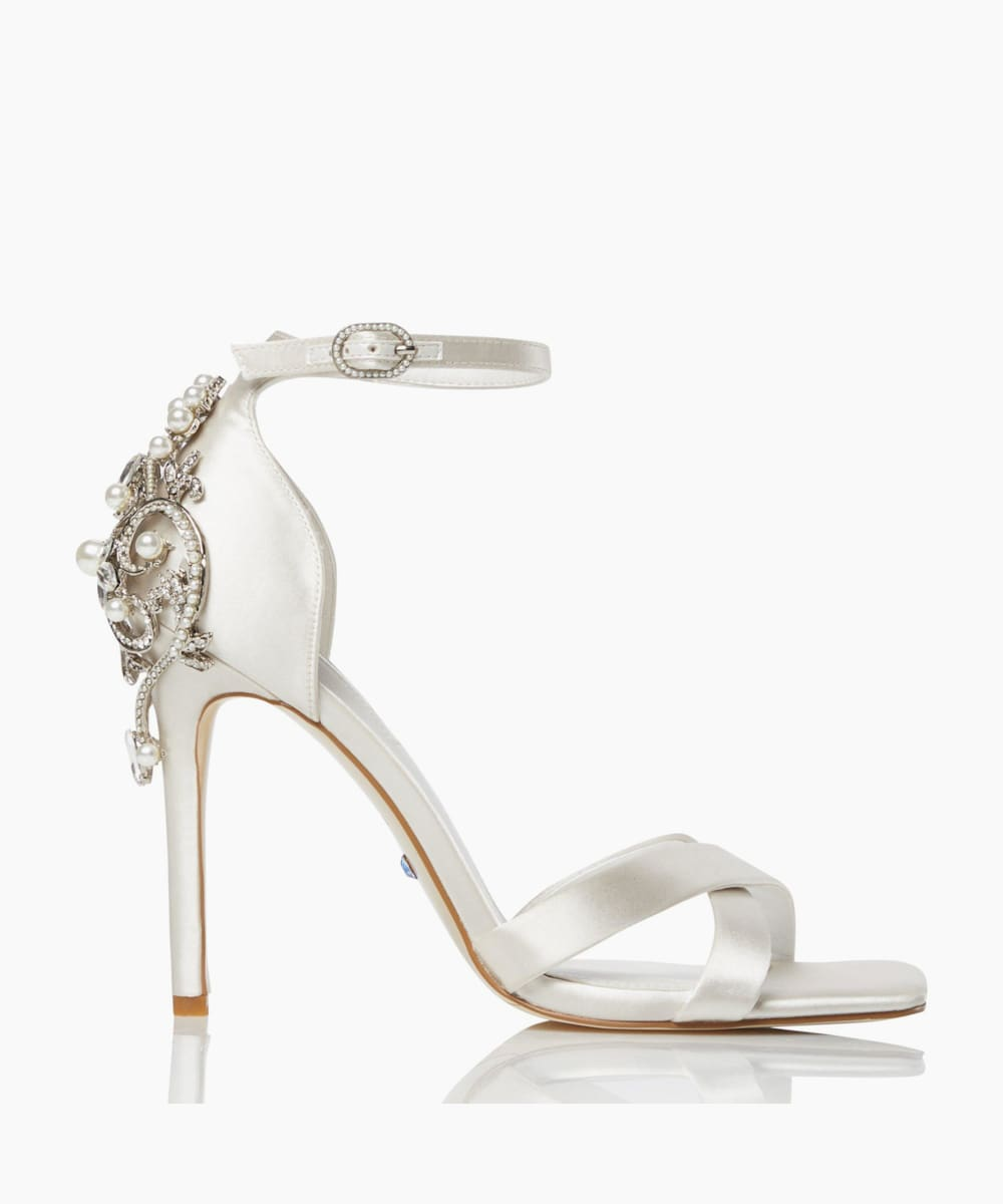Embellished Cross Strap Wedding Sandals