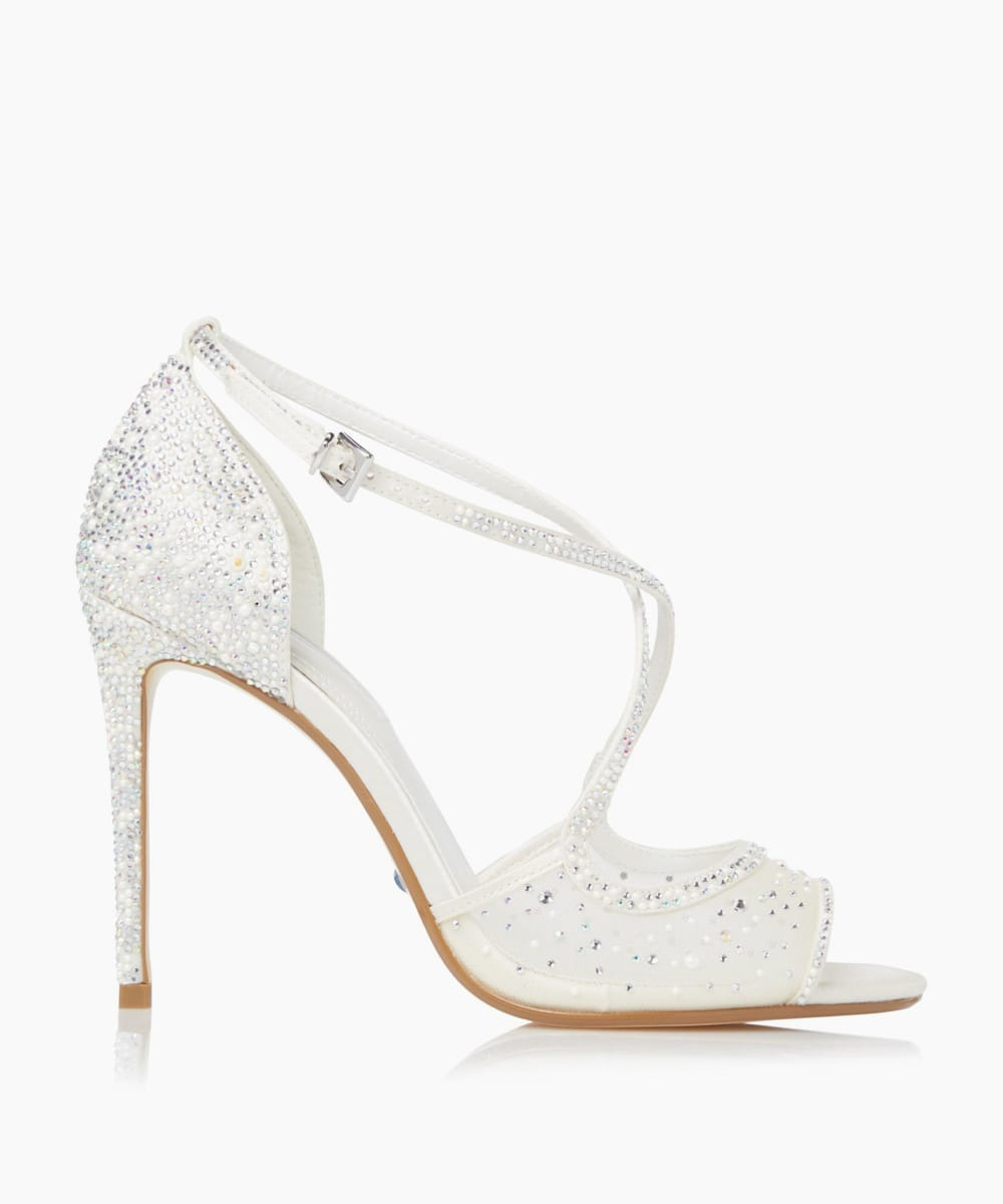 Embellished Cross Strap Wedding Shoes