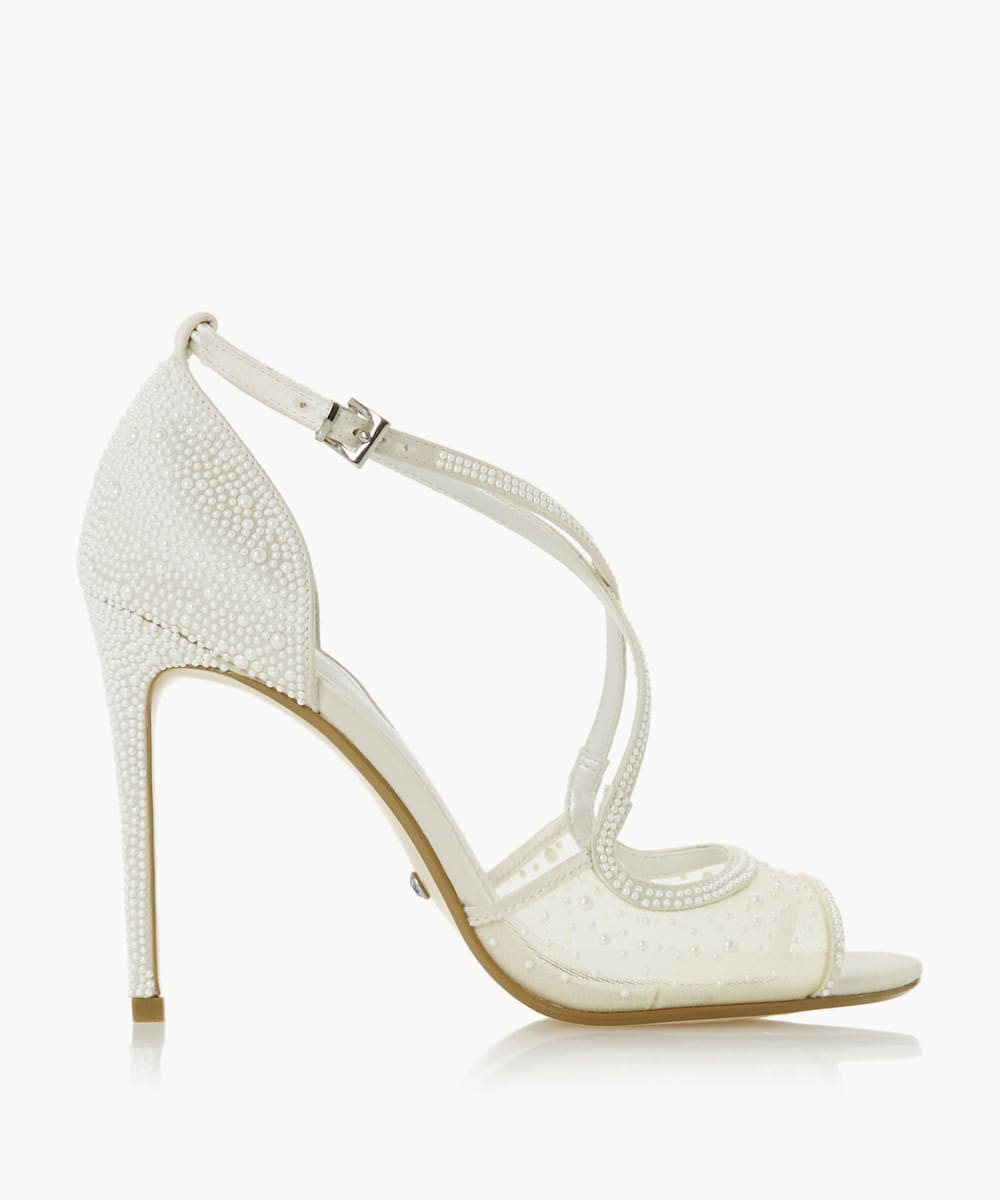 Embellished Cross Strap Wedding Shoes
