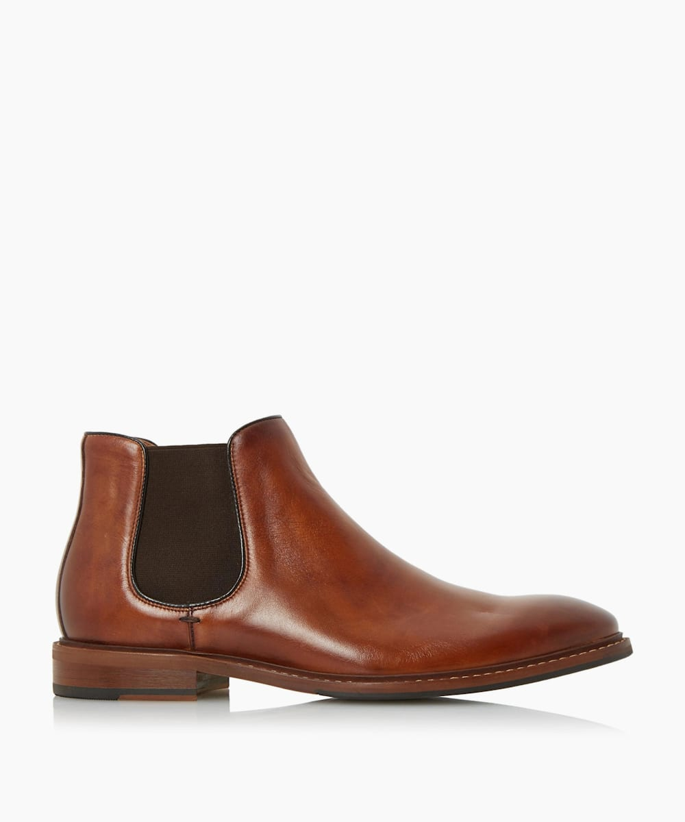 Natural Sole Leather Chelsea Boots