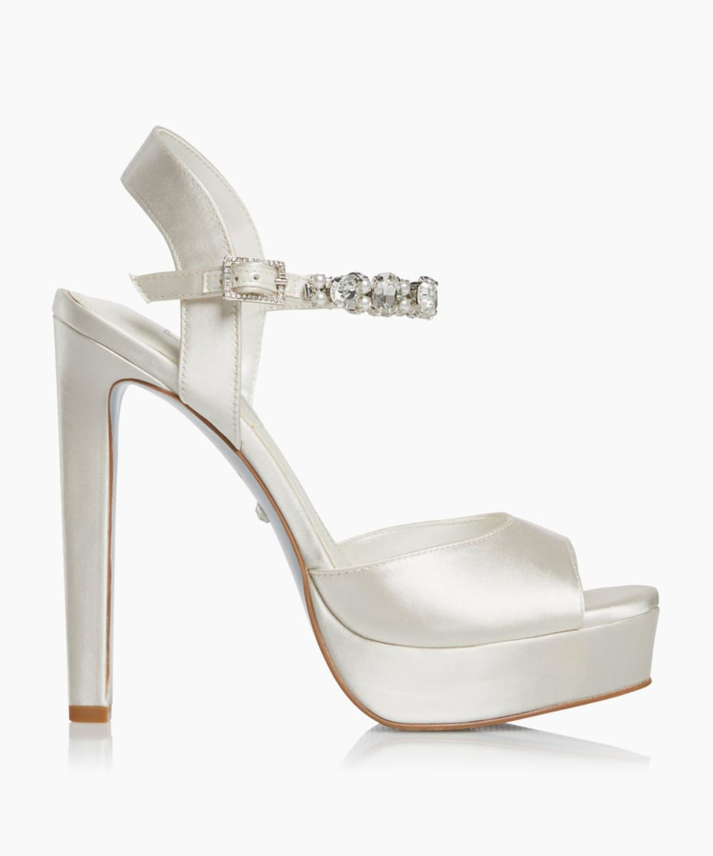 Crystal Embellished Platform Wedding Shoes