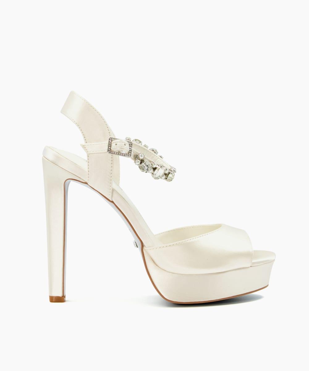 Crystal Embellished Platform Wedding Shoes