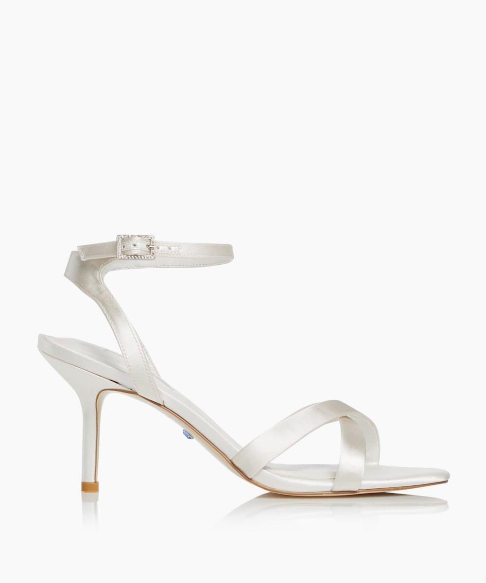 Cross Strap Mid Heel Sandals